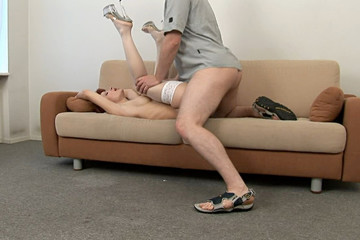 Hot redhead in high heel sex video